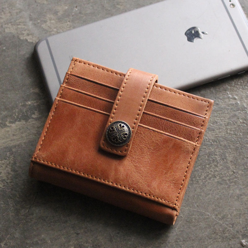 Cool Leather Mens Small Wallet Leather Short Bifold Card Wallets for Men