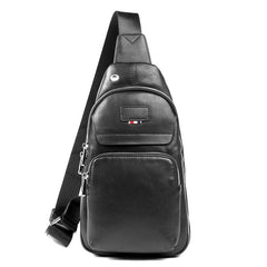 Black Leather Mens Cool Sling Pack Sling Bags Black Crossbody Packs Chest Bag for men