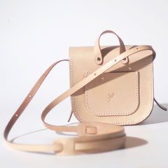 Womens Beige Leather Saddle Shoulder Bag Purse Handmade Crossbody Bag for Women