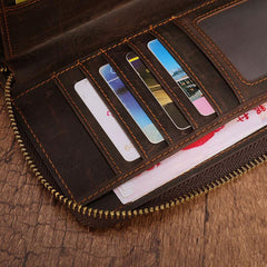 Cool Leather MensLong Wallet Double Zipper Clutch Wallet Wristlet Wallet