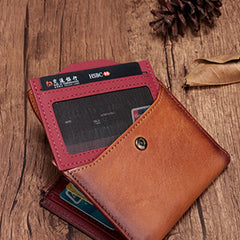 Vintage Brown Leather Womens Bifold Small Wallet Red Short Wallet for Women