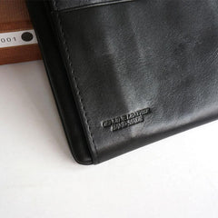 Cool Black Mens Leather Bifold Long Wallet Phone Soft Leather Long Wallet for Men
