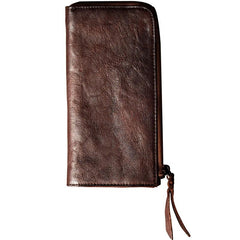 Leather Mens Cool Long Leather Wallet Phone Zipper Clutch Wallet Wristlet Wallet for Men