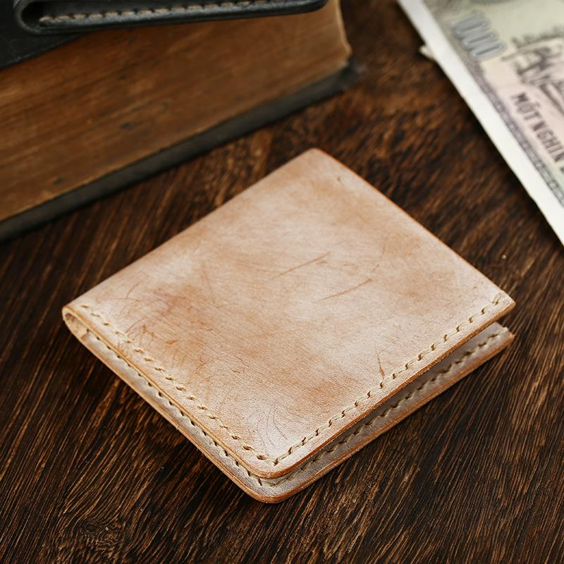 Simple SLim  Handmade Cool Mens Black Short Wallet Blue Card Wallet Brown Wallet For Men