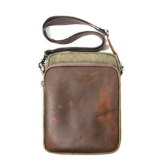 Cool Canvas Leather Mens Vertical Small Side Bag Gray Messenger Bag for Men