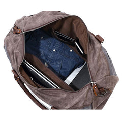 Mens Waxed Canvas Leather Large Weekender Bag Canvas Travel Bag for Men