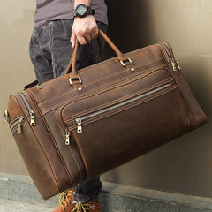 Vintage Large Leather Men's Overnight Bag Brown Travel Bag Weekender Bag For Men