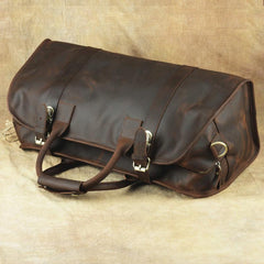 Vintage Leather Men's Coffee Overnight Bag Large Weekender Bag Travel Bag For Men