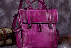 Vintage Handmade Womens Leather Backpack Bag Fashion Backpack Purse For Women