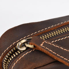 Cool Dark Brown Leather Mens Small Messenger Bags Cool Side Bag Tablet Messenger Bag for men
