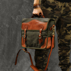 Canvas Leather Mens 14'' Army Green Briefcase Side Bag Retro Messenger Bag Shoulder Bag For Men