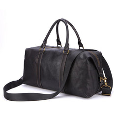 Fashion Black Leather Men's Weekender Bag Travel Bag Black Overnight Bag For Men