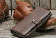 Cool Mens Leather long wallets zipper Vintage clutch wallet for men