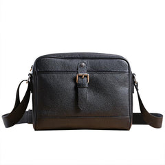 Casual Black Leather MENS Small Side Bag Black Messenger Bag Leather Courier Bag For Men