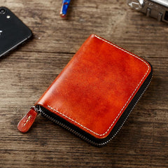 Handmade Cool Mens Leather Zipper Red Small Wallet Green Bifold Short Wallet for Men