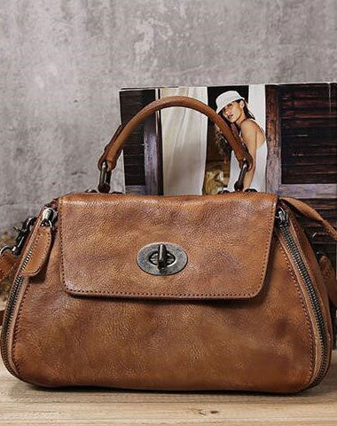 Handmade Leather handbag purse doctor bag shoulder bag for women leather shopper bag