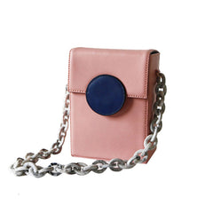 Cute Leather Pink Womens Mini Box Chain Purse Box Shoulder Bag for Women