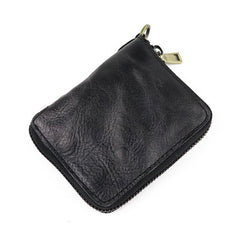 Vintage Leather Brown Men's Bifold Small Wallet Black Zipper billfold Wallet For Men