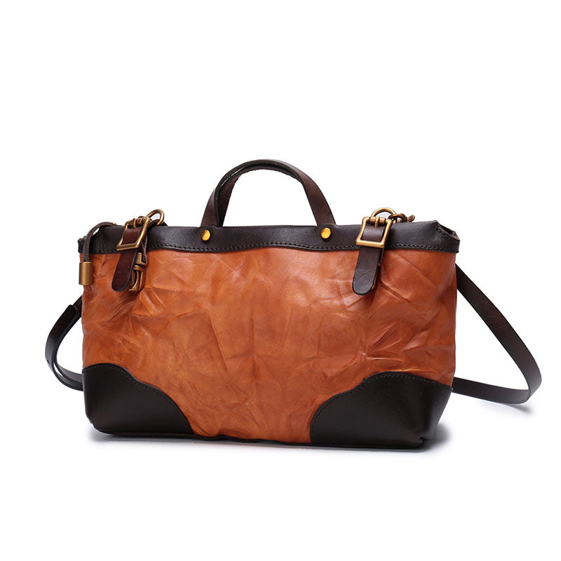 Vintage Brown Leather Handbag Tote Messenger Bag Shoulder Tote Purse For Women