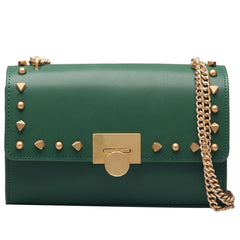 Leather Stylish Womens Rivet Handbag Work Purse Chain Shoulder Bag for Women
