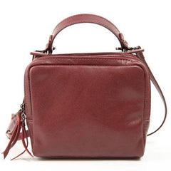 Best Leather Zip Women's Small Square Crossbody Bag Purse - Annie Jewel
