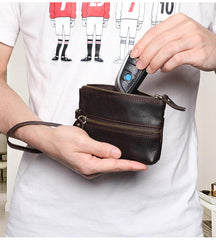 Small Leather Men's Key Wallet Car Key Holder Coin Wallet Change Holder For Men