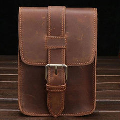 Cool Leather Mens Cigarette Case with Belt Loop Cell Phone Holster Belt Pouch for Men
