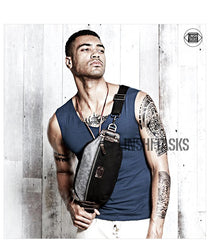 Casual Black Canvas Leather Fanny Pack Men's Chest Bag Hip Bag Waist Bags For Men