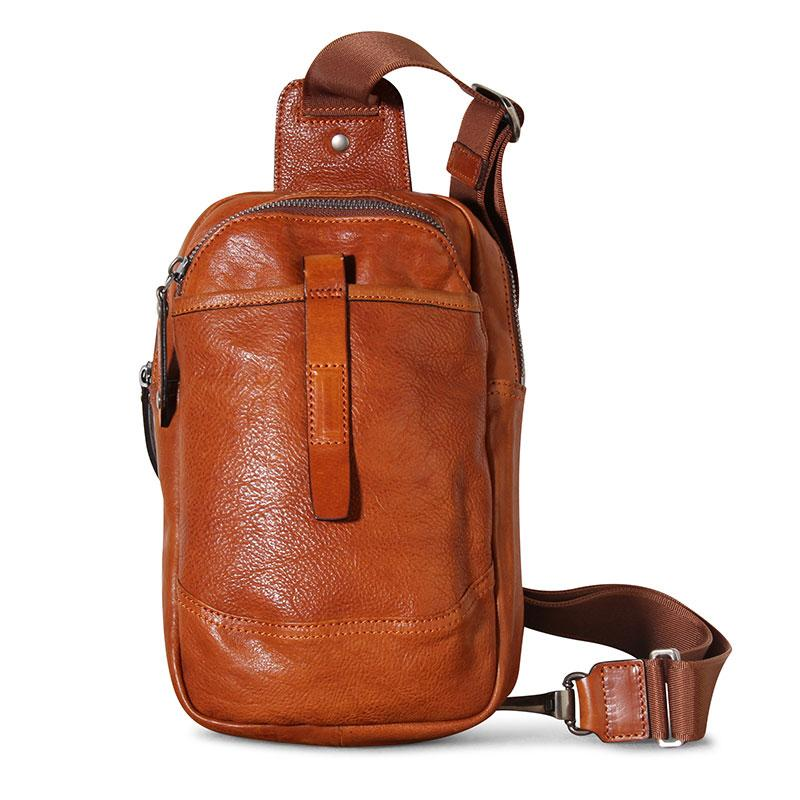 Genuine Leather Mens Cool Chest Bag Sling Bag Crossbody Bag Travel Bag Hiking Bag for men