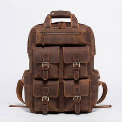 Vintage Mens Leather Large Laptop Backpack Travel Backpack Leather School Backpacks for Men