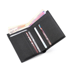 Black Leather Mens Slim Bifold Small Wallet Front Pocket Wallet billfold Small Wallet for Men