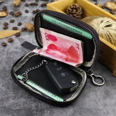 Cool Black Leather Men's Key Wallet Zipper Car Key Holder Card Wallet For Men