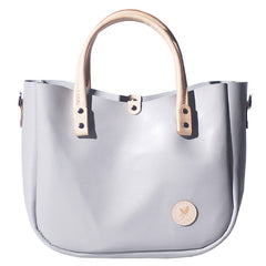 Handmade Leather Gray Womens Handbag Cute Shopper Purse for Women
