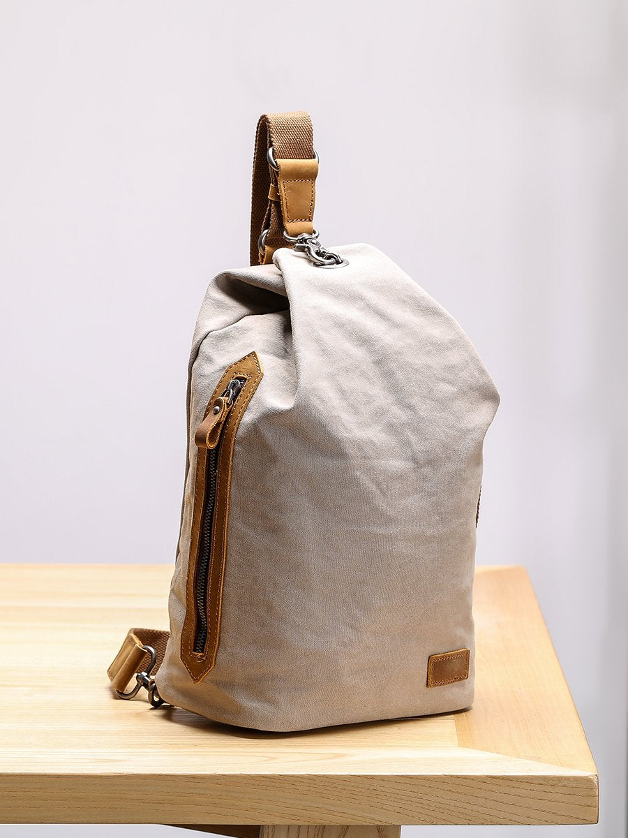 Canvas Leather Mens White Chest Bag One Shoulder Backpack Green Sling Bag for Men