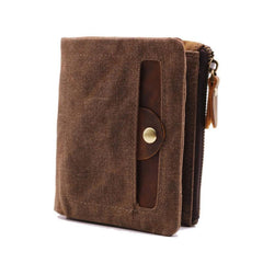 Mens Canvas Small Wallets for men Bifold Cool Men Short Small Wallet