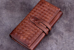 Genuine Leather Wallet Long Wallet Woven Wallet Purse For Men Women