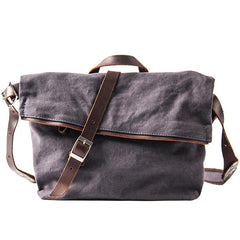 Canvas Mens Casual Beige 12'' Courier Bag Shoulder Bag Side Bag Messenger Bag for Men