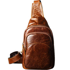 Genuine Cool Leather Mens Sling Bag Chest Bag Crossbody Sling Bag for men