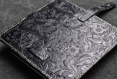 Handmade long leather wallet floral leather clutch wallet for women men zip