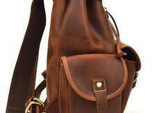Genuine Leather Mens Cool Backpack Large Brown Travel Bag Hiking Bag For Men