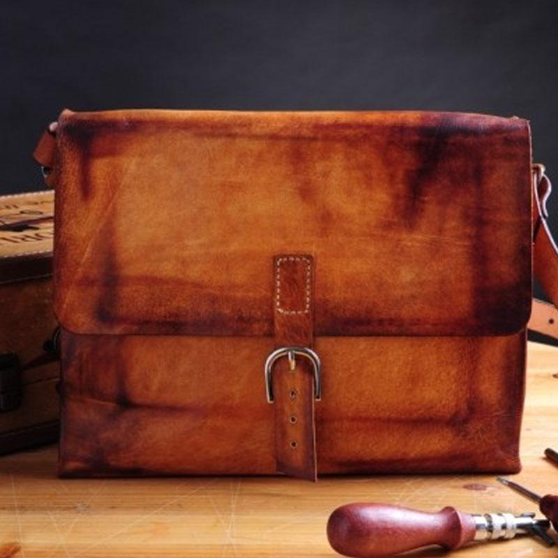 Handmade Vintage Brown Leather Mens Messenger Bag Shoulder Bag for Men