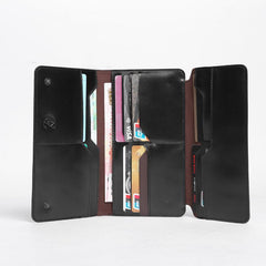 Fashion Leather Men's Trifold Long Wallet Black Gray Long Wallet For Men