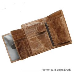 Cool Leather Mens Small Wallet billfold Bifold Wallet Front Pocket Wallet for Men