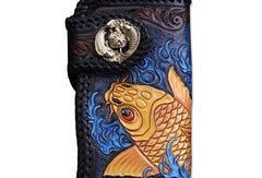 Handmade Leather Long Black Biker Wallet Leather Chain Wallet Men Red Carp Tooled Wallets