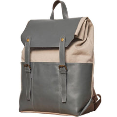 Leather Canvas Mens Cool Backpack Canvas Travel Bag Canvas School Bag for Men