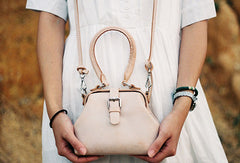Handmade leather handbag Beige doctor bag shoulder bag cossbody bag purse women