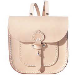 Handmade Leather Beige Mini Backpack Cute Saddle Backpack for women