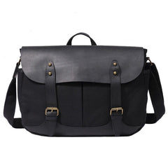 Mens Canvas Leather Messenger Bag Saddle Side Bag Canvas Shoulder Bag for Men