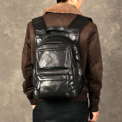 Fashion Leather Men's 15 inches Computer Backpack Black Large Travel Backpack Coffee Large College Backpack For Men