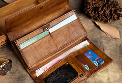 Handmade Long Leather Wallet Carved Totem Vintage Wallet Botton Clucth Purse For Men Women